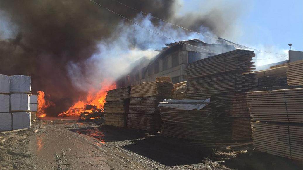 В МВД назвали возможную причину пожара на лесокомбинате под Красноярском