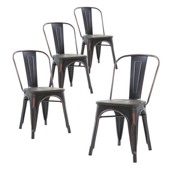 Металлические стулья Tolix с высокой спинкой