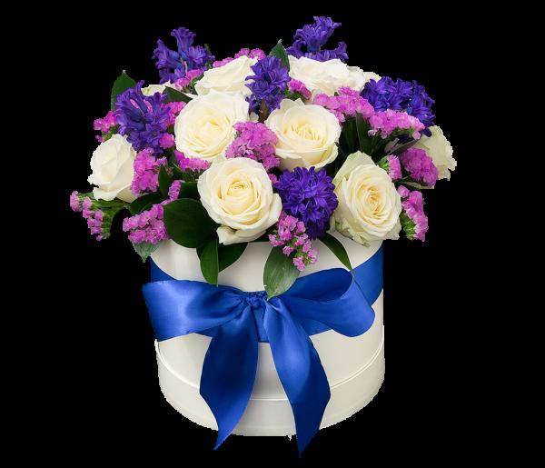 Красивые композиции из цветов в шляпных коробках